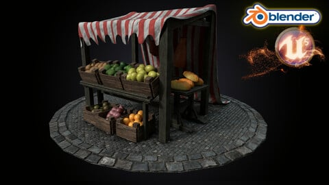 Medieval Market Stall Model 3D Tudor | Blender | UE5