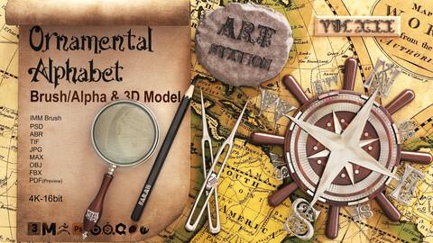 78 Ornamental Alphabet Alpha , Brush & 3D Models V7