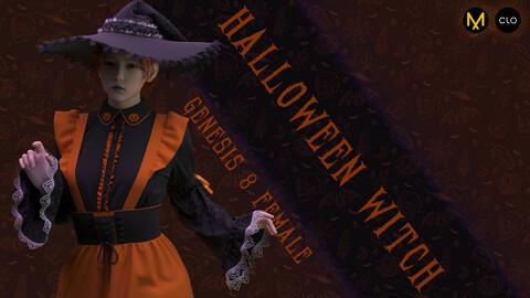 Clo3d/Marvelous designer Female Halloween witch outfit. Zprj/Obj/Pose