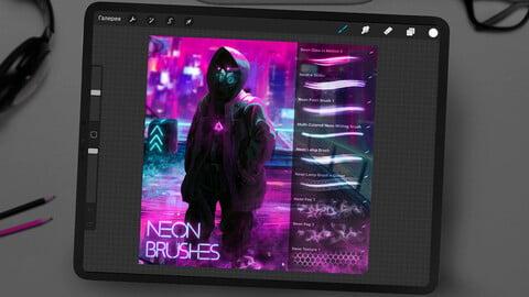 Cyberpunk Neon Brushes Set for Procreate