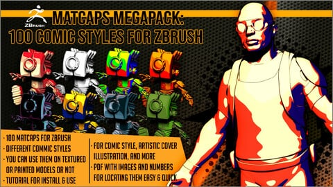 Matcaps Megapack: 100 Comic Styles For ZBrush