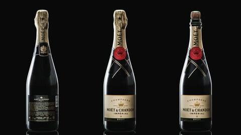 Champagne Moet And Chandon Imperial Brut Champagne Bottle Low-poly 3D model