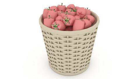 3D model basket pepper market sale