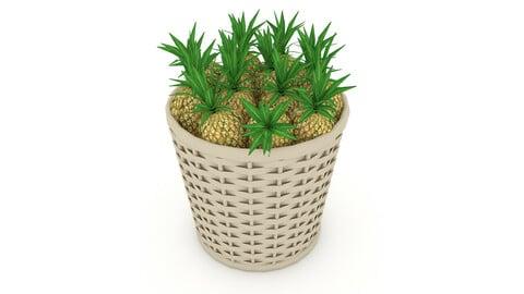 basket ananas market sale 3D model