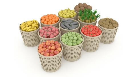 basket fruit and vegetable market sale 3D model