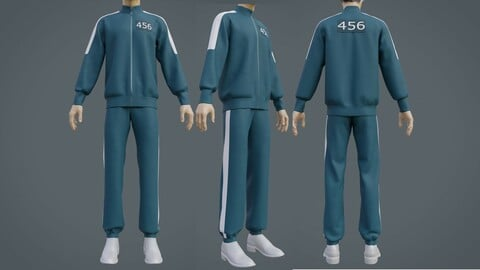 Squid Game Players Uniform - 456 Male Tracksuit Costume 3D Model