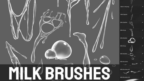 Milk Brushes for Procreate (Realistic + 2D)