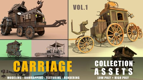 carriages collection low poly and high poly with uv and texture vol .1