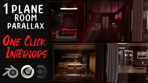 Parallax room pack | One click interiors |  20+20 | KPACK | Windows