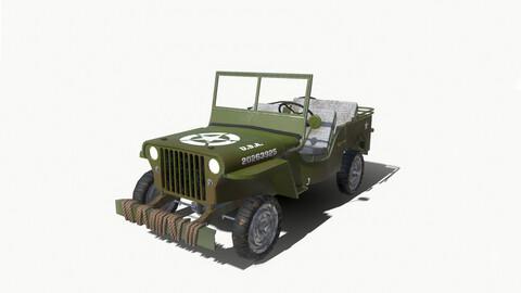 Low-Poly World War II Army Truck