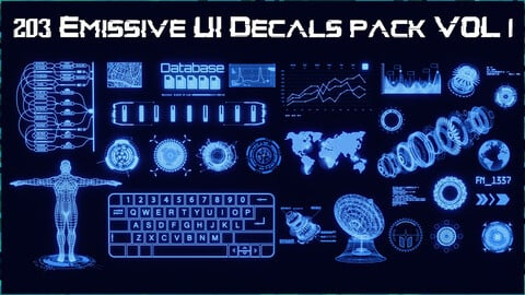 203 Emissive UI Decals pack VOL 1 | Blender, Substance 3D Painter, Decal Machine ready, Kit ops KPACK, PSD, Vector | Sci-Fi, Charts, Crypto, Arrows, Circles, Display, Info