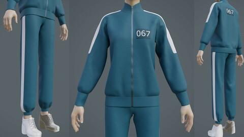 3D Squid Game Players Uniform - 067 Female Tracksuit Costume