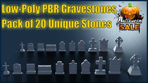 Low Poly PBR Grave Stones