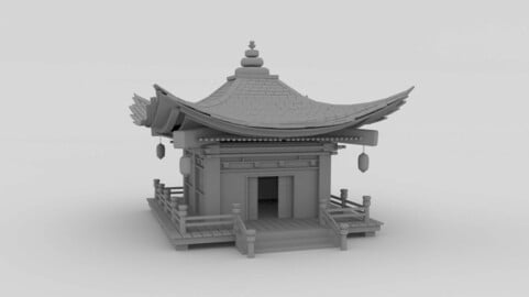 3D traditional japan temple