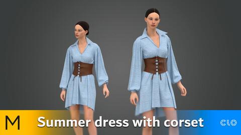 Summer dress with corset Marvelous Designer, CLO3D, Obj