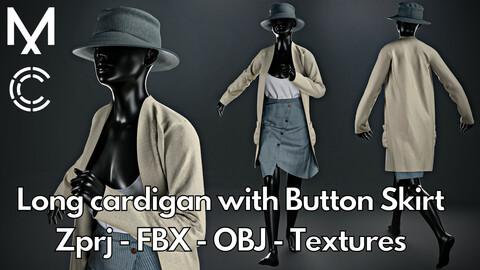 Marvelous Designer + Clo3d + OBJ + FBX + Texture : Long cardigan with button skirt