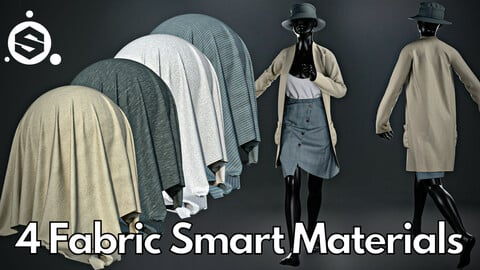 4 Fabric smart material : Long cardigan with button skirt