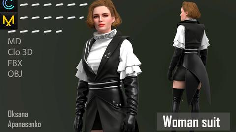 Woman suit. Clo 3D/MD project + OBJ, FBX files
