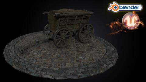 Medieval Hay Wagon Cart Model 3D Tudor   Blender   UE5