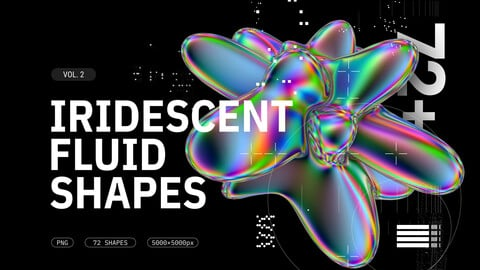Iridescent fluid 3D shapes collection