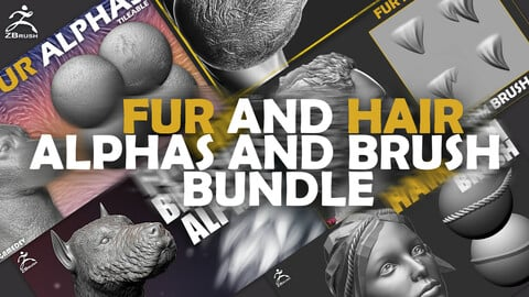 100+ Fur and Hair Alphas and Brush Bundle