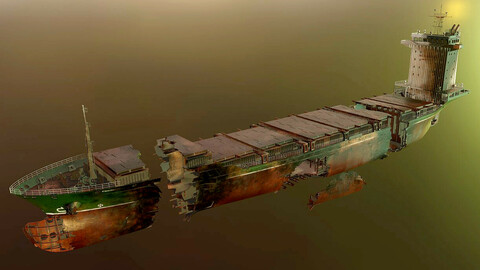 Burned and destroyed ship