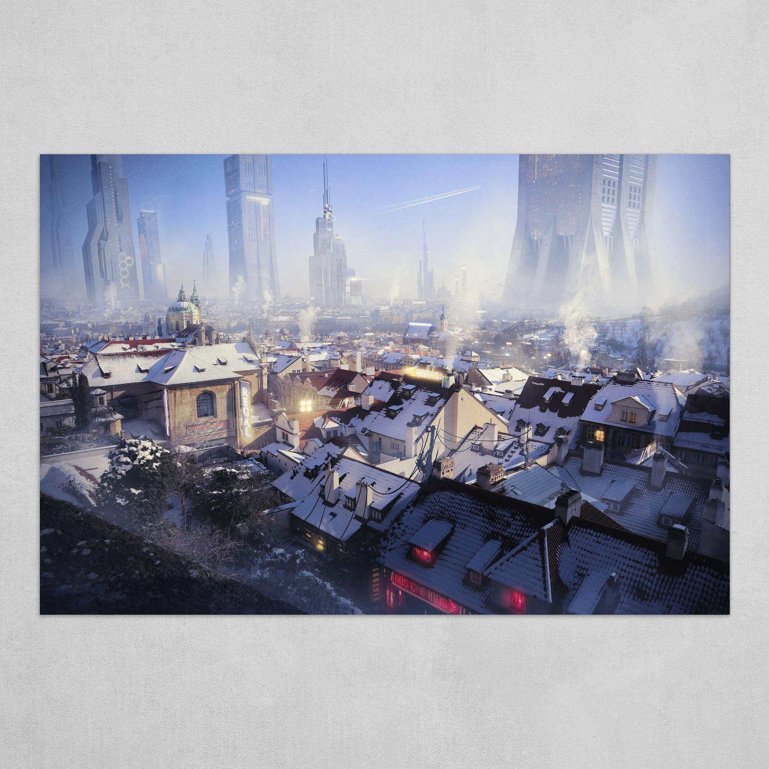 Future Prague under snow