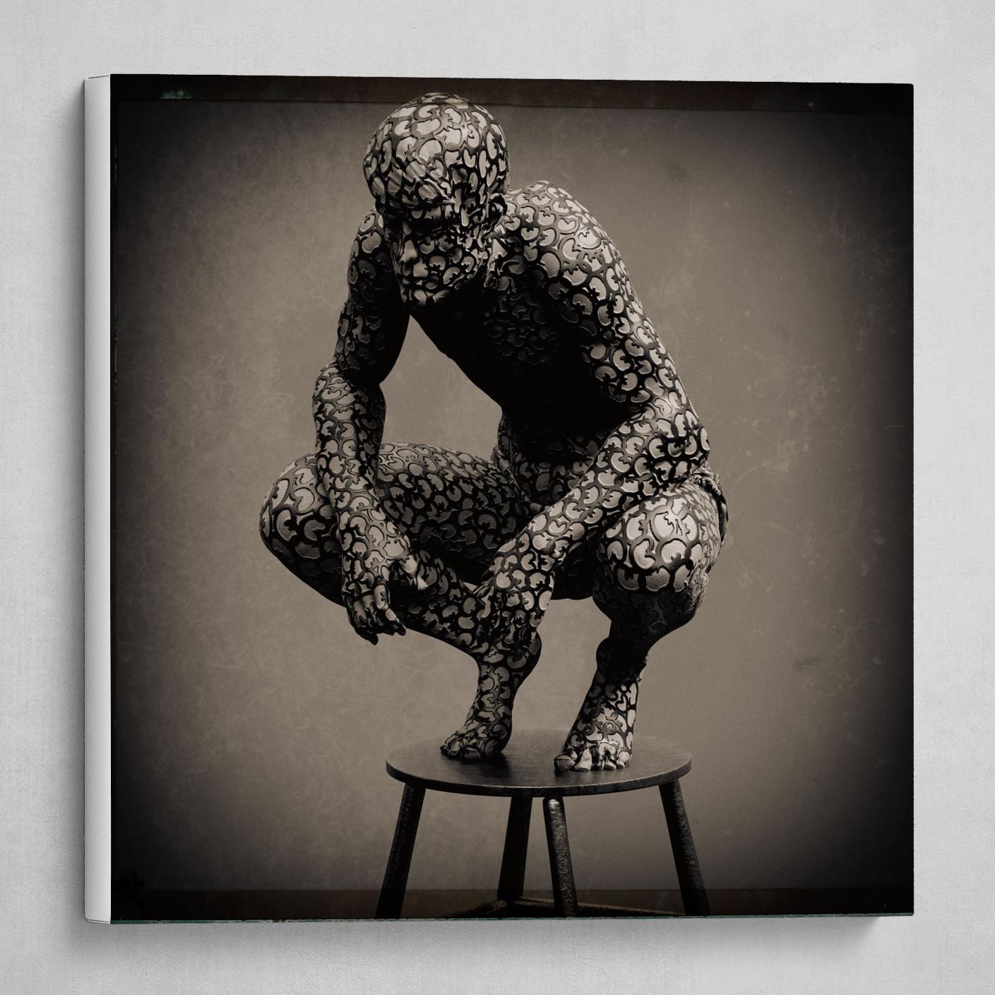 dark man crouching