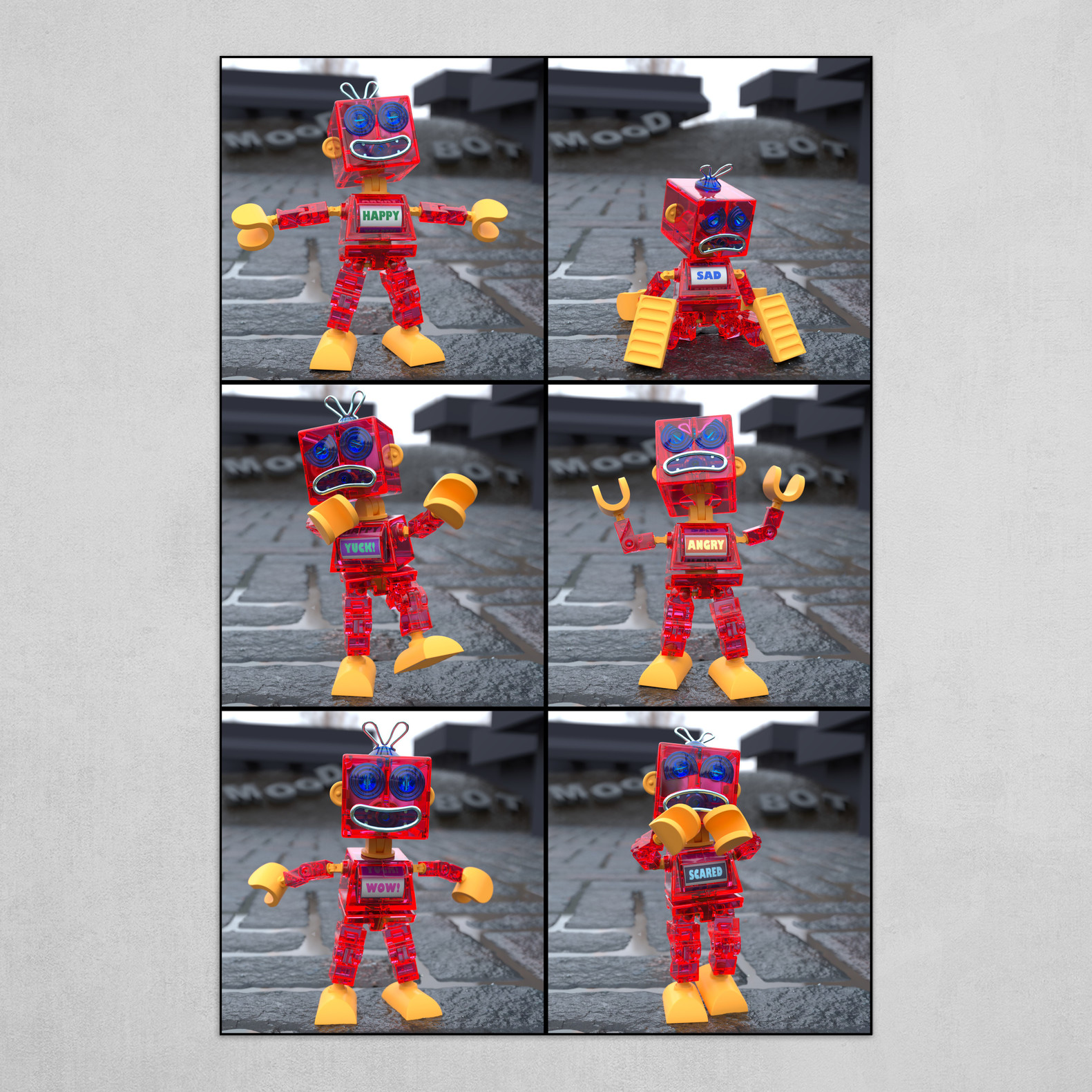Six moods of a Toy Robot