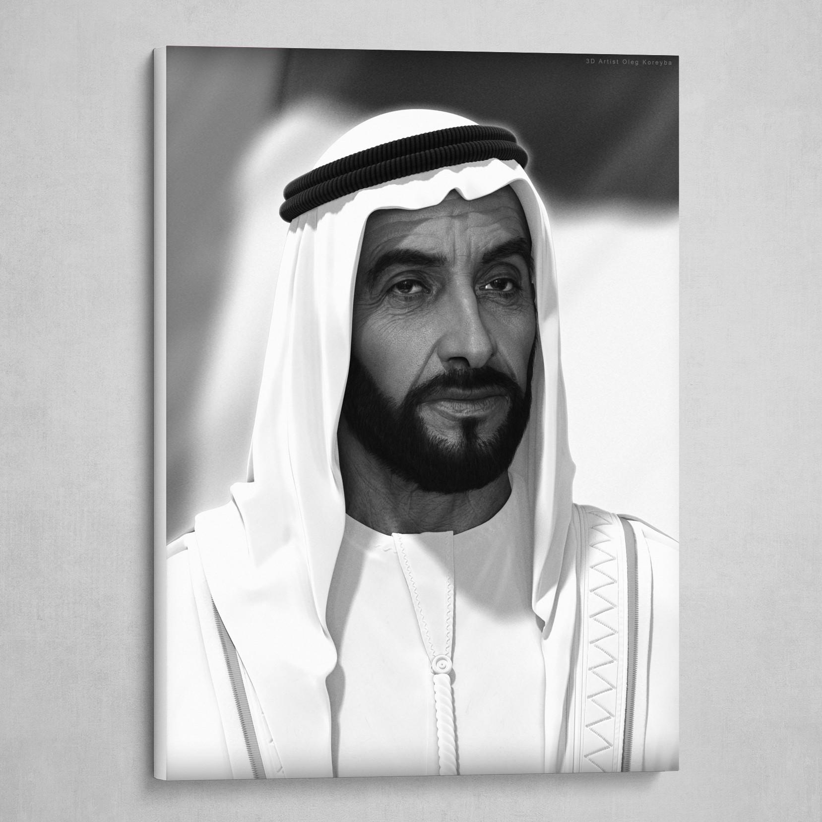 3D portrait of Sheikh Zayed bin Sultan Al Nahyan