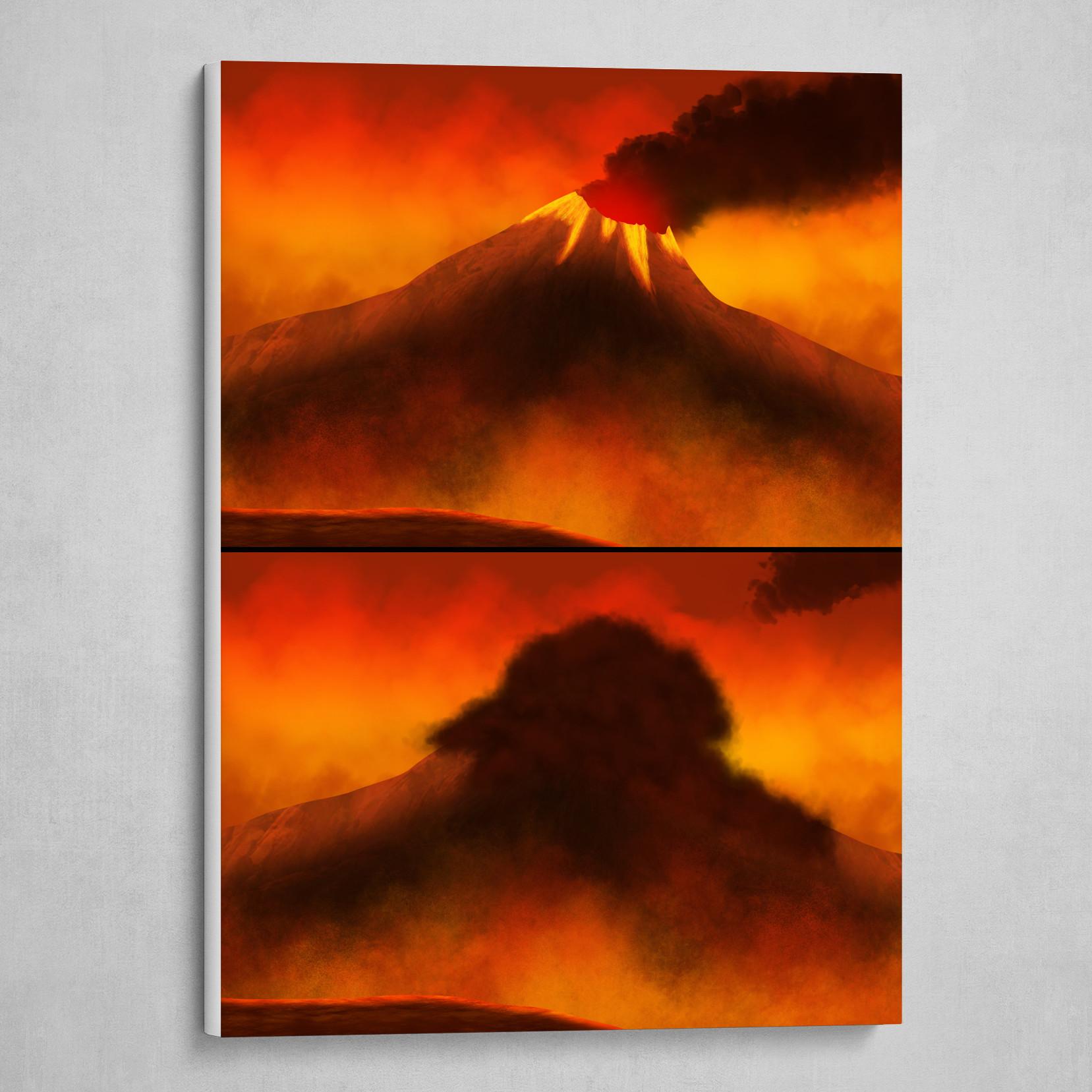 Artstation Erupting Volcano Canvas Print