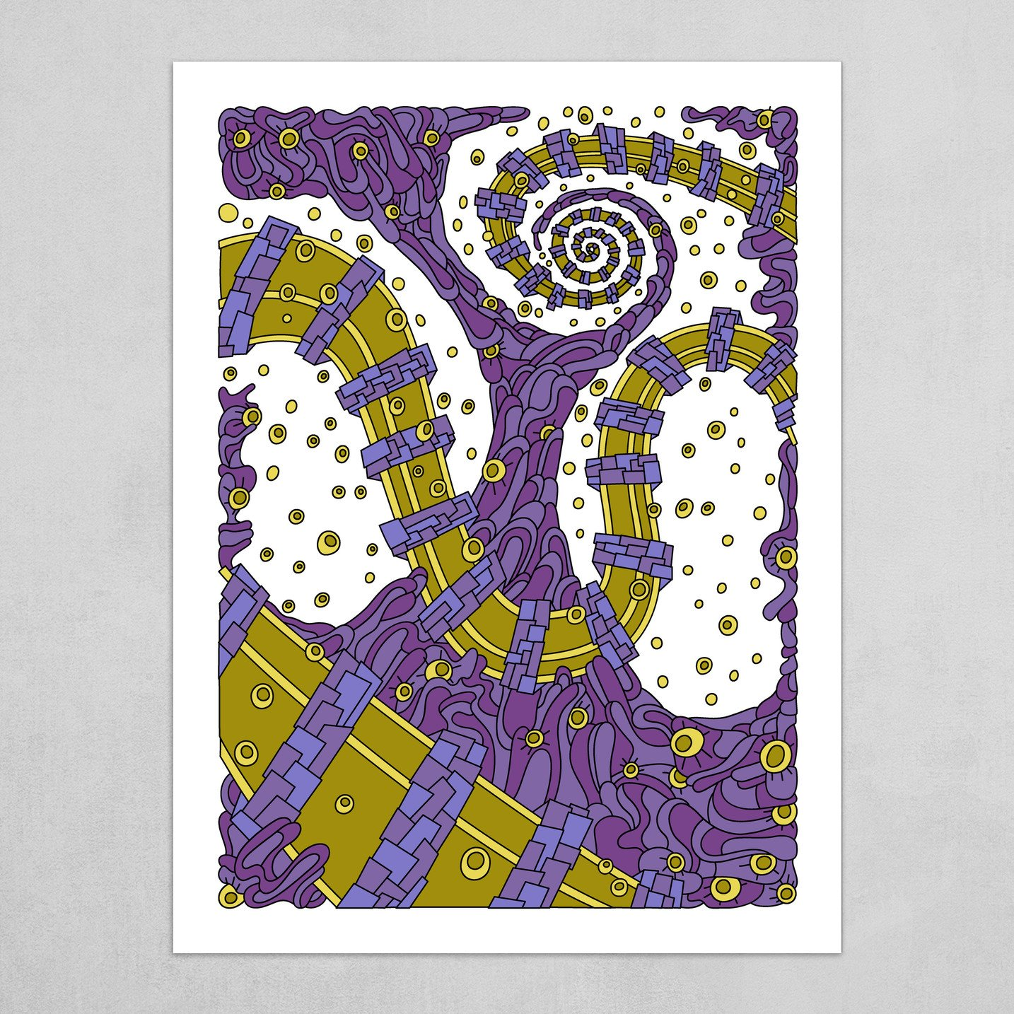 Wandering Abstract Line Art 02: Purple