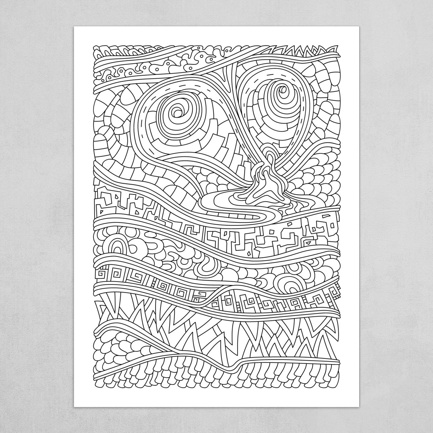 Wandering Abstract Line Art 03: Black & White