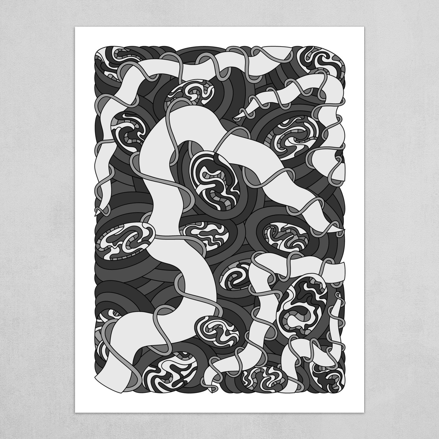 Wandering Abstract Line Art 04: Grayscale
