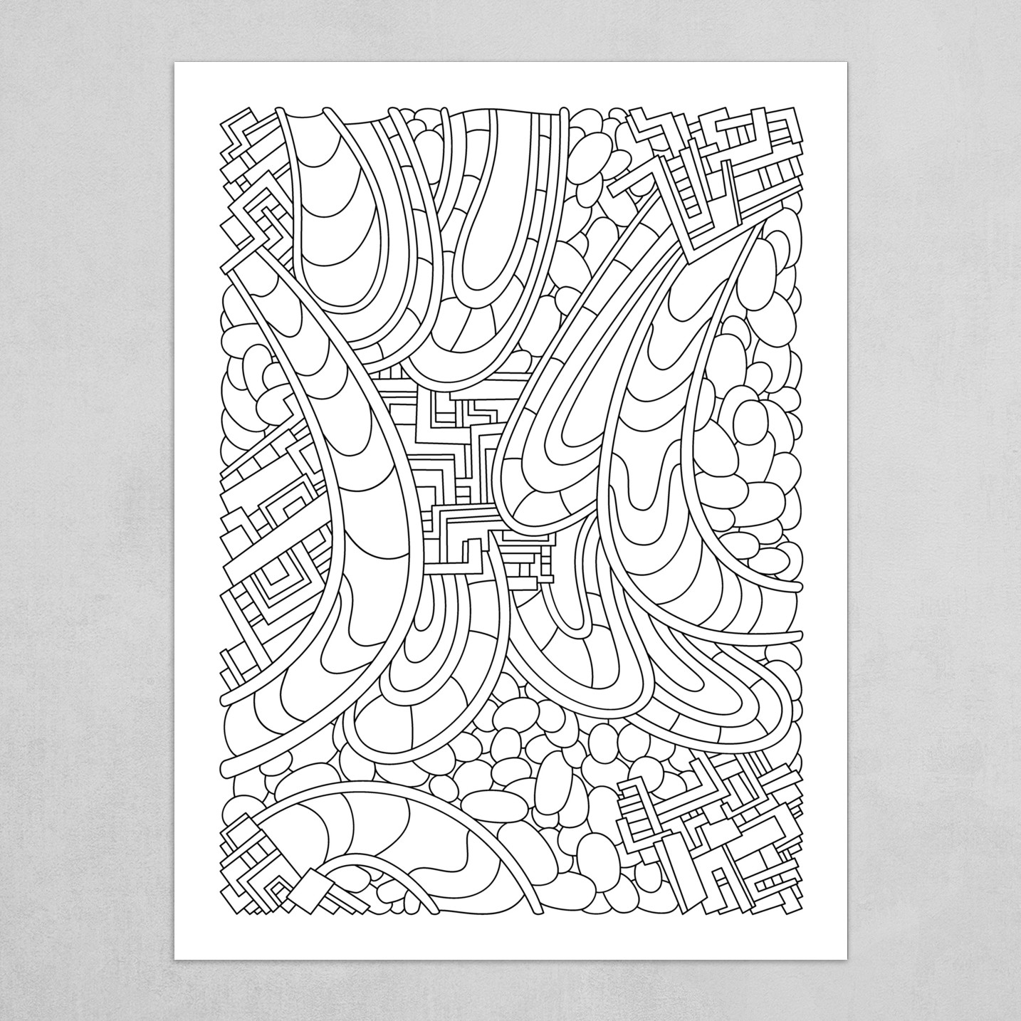 Wandering 09: black & white line art