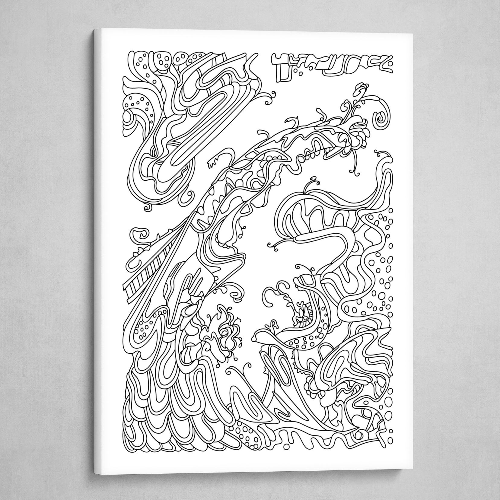 Wandering 16: black & white line art