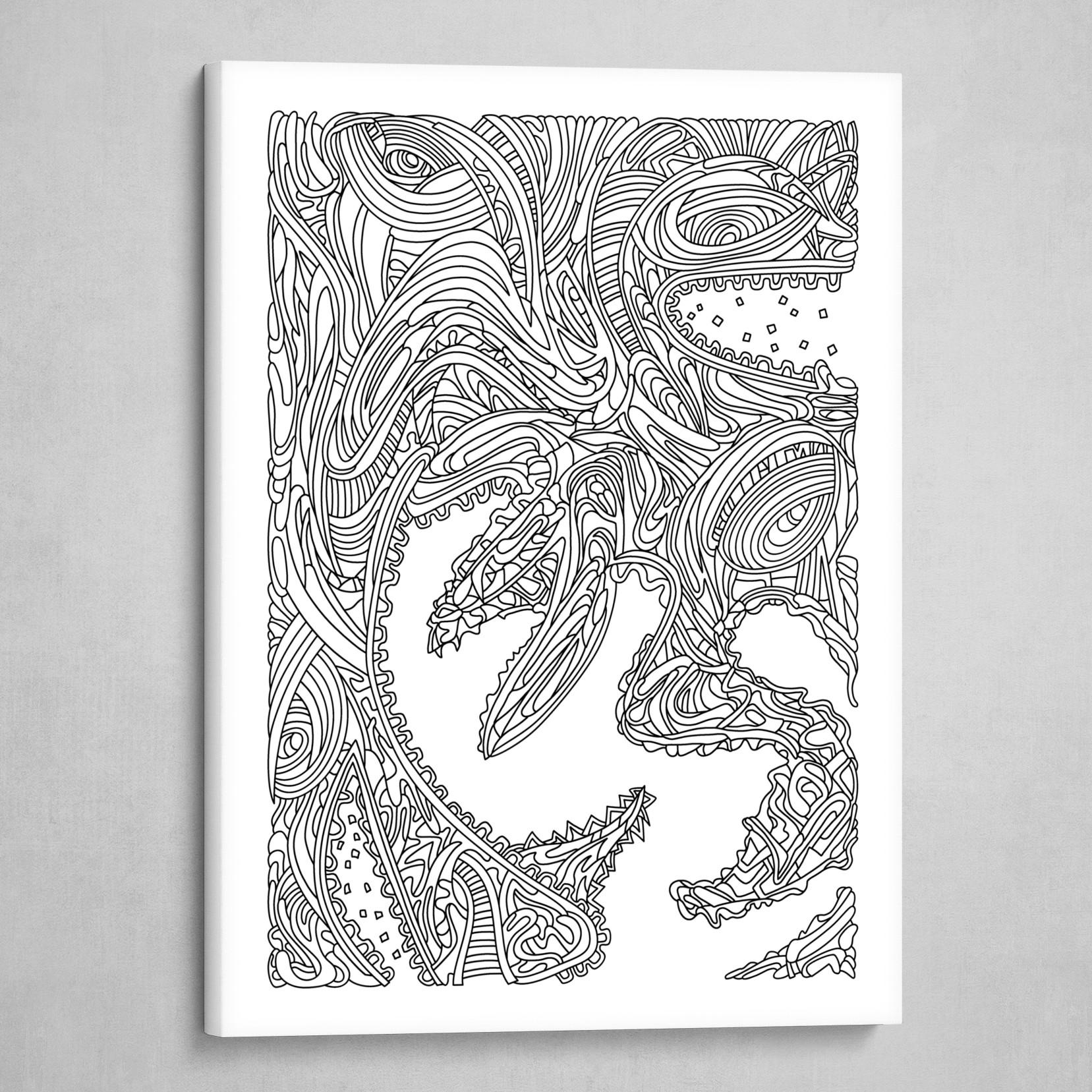 Wandering 17: black & white line art
