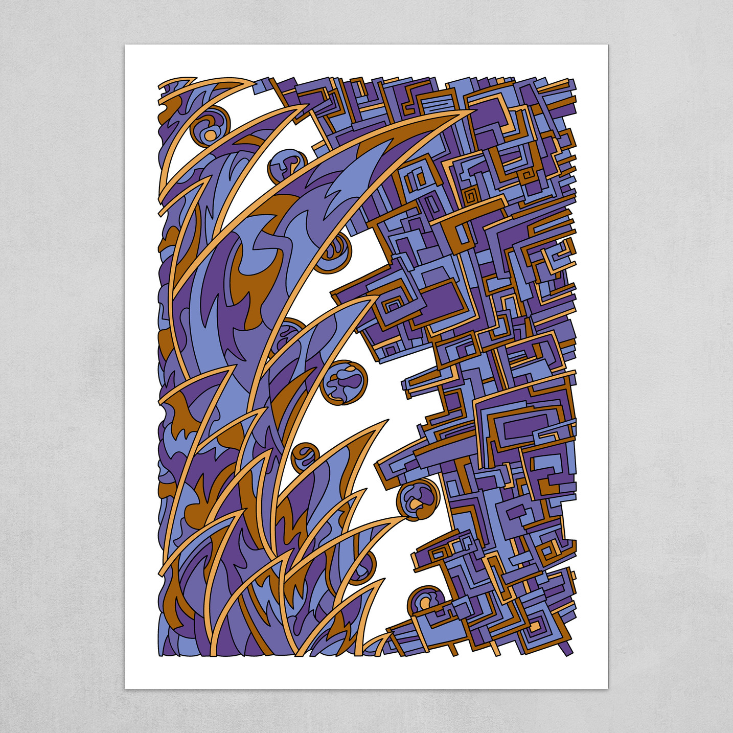 Wandering Abstract Line Art 18: Blue