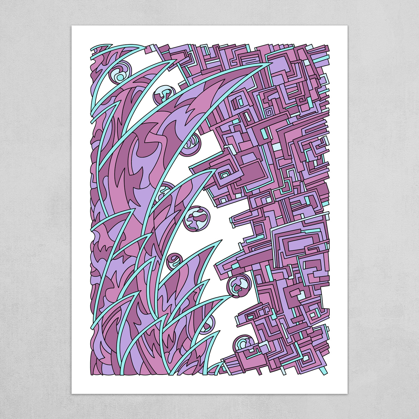 Wandering Abstract Line Art 18: Pink