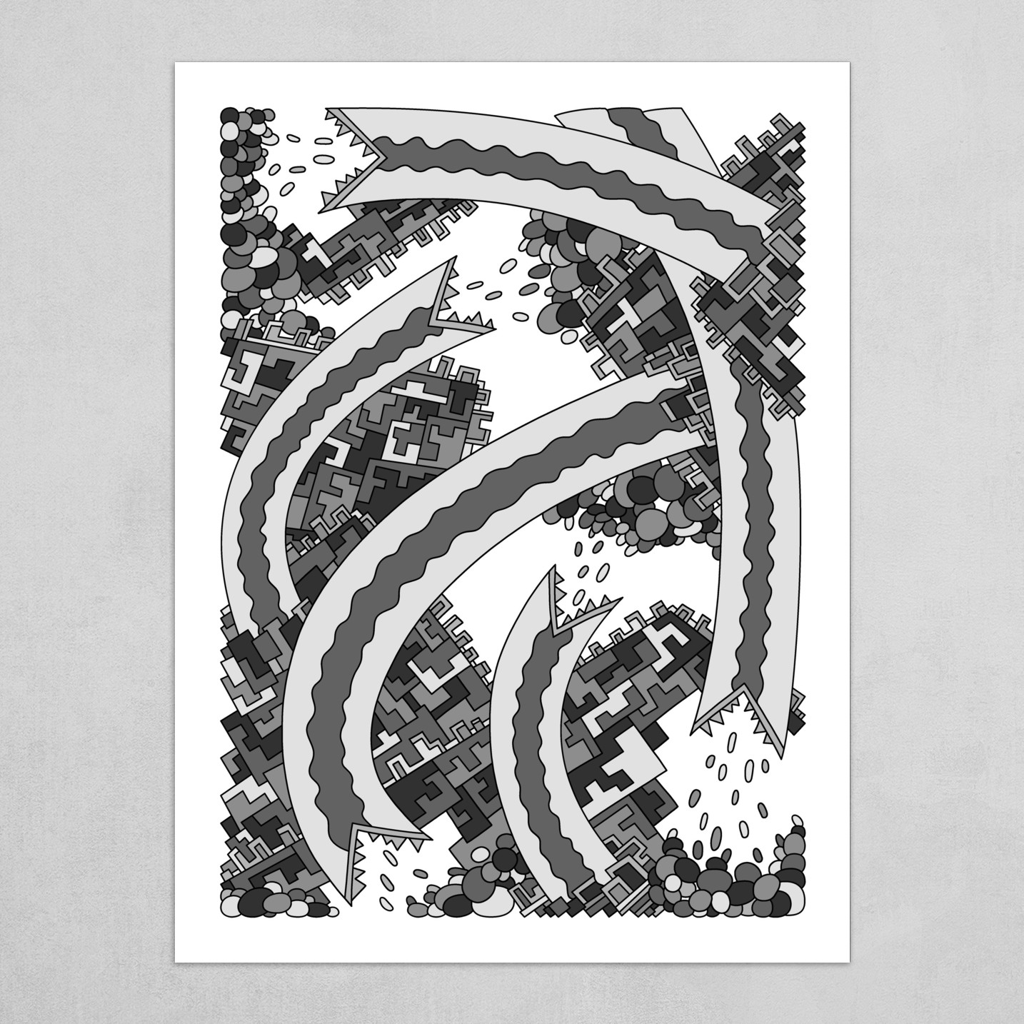 Wandering Abstract Line Art 19: Grayscale