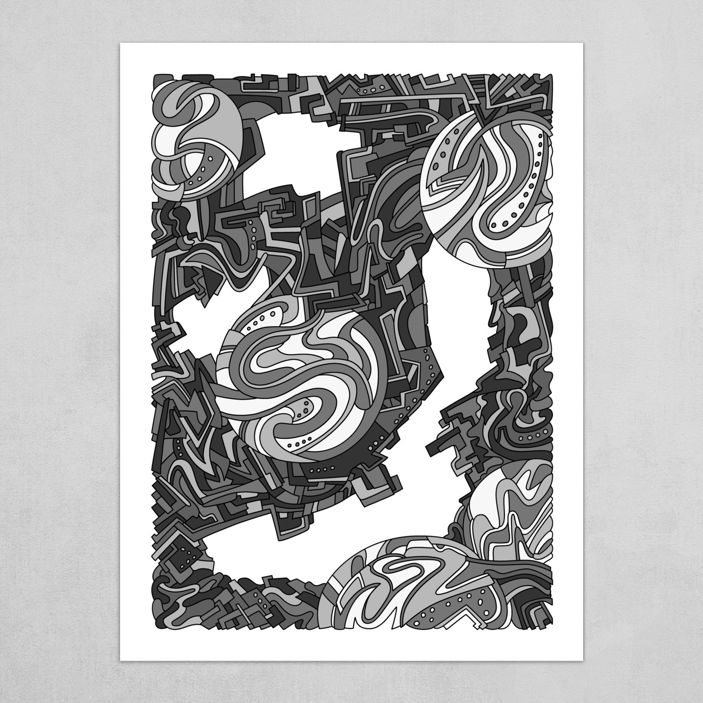 Wandering Abstract Line Art 21: Grayscale