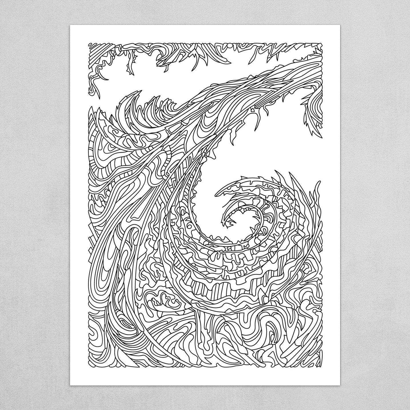 Wandering Abstract Line Art 23: Black & White