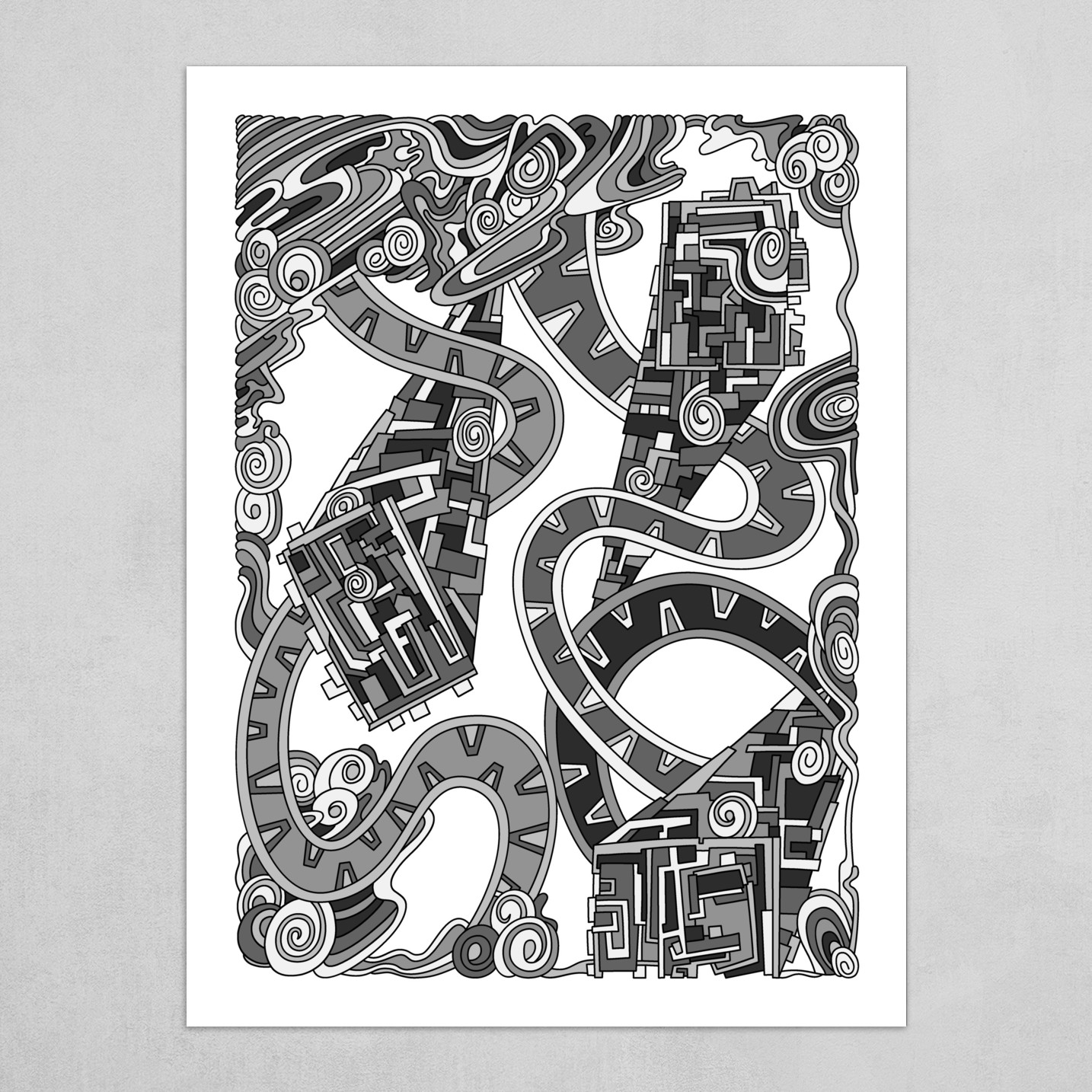 Wandering Abstract Line Art 24: Grayscale