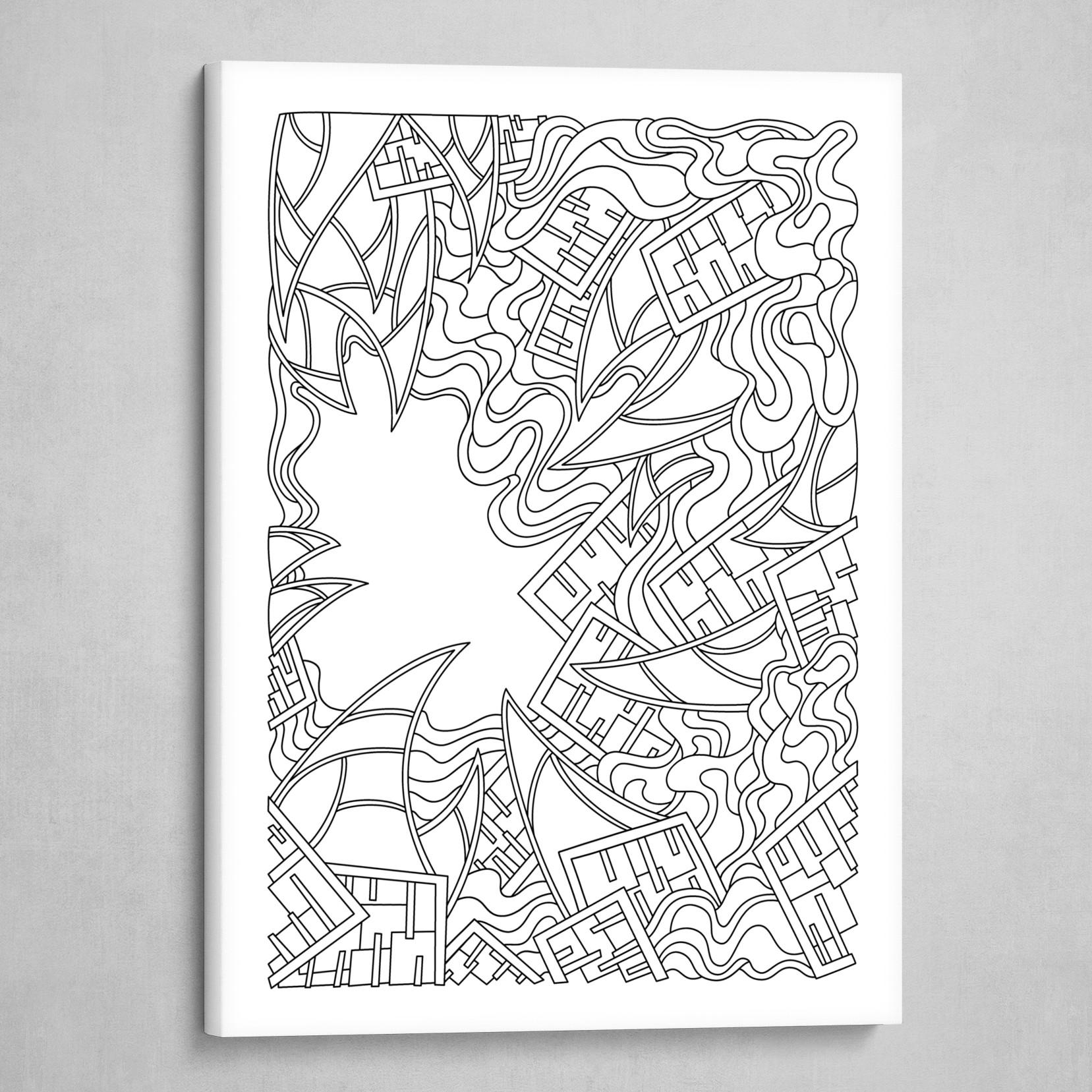 Wandering 25: black & white line art