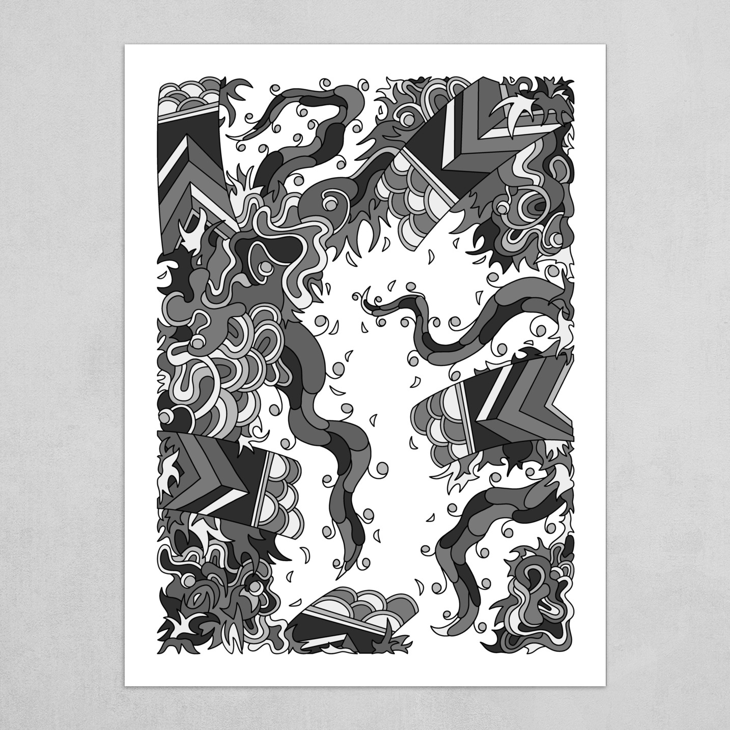 Wandering Abstract Line Art 27: Grayscale