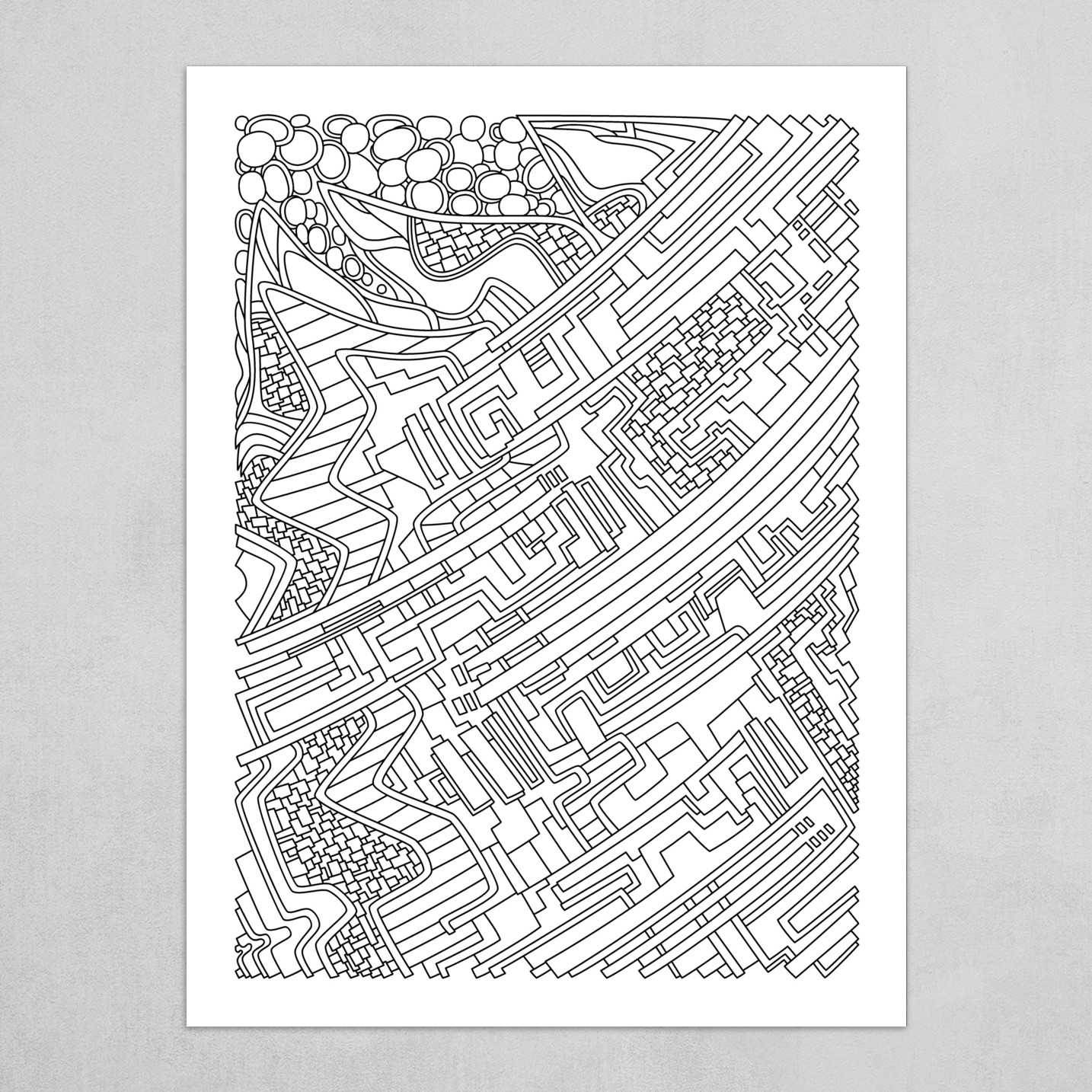 Wandering Abstract Line Art 28: Black & White