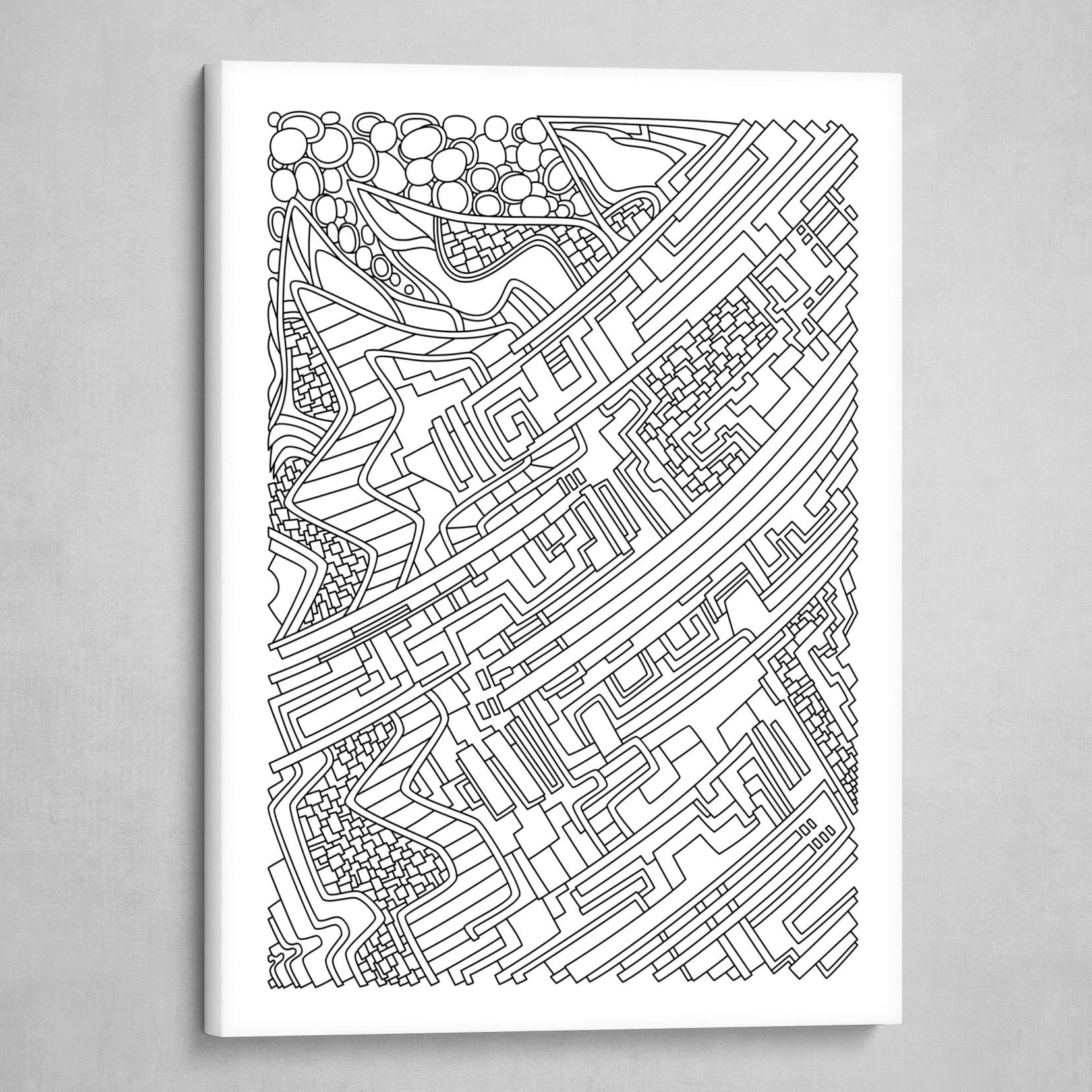 Wandering 28: black & white line art