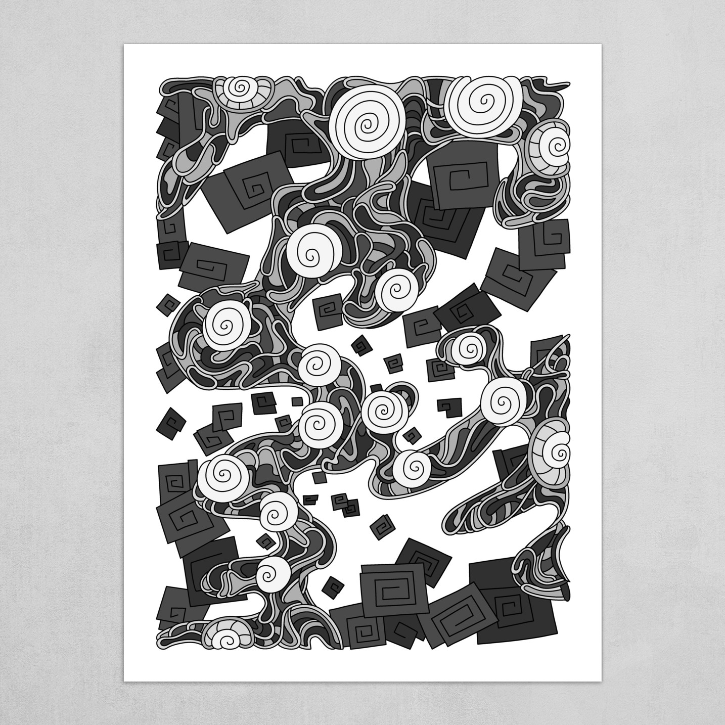 Wandering Abstract Line Art 29: Grayscale