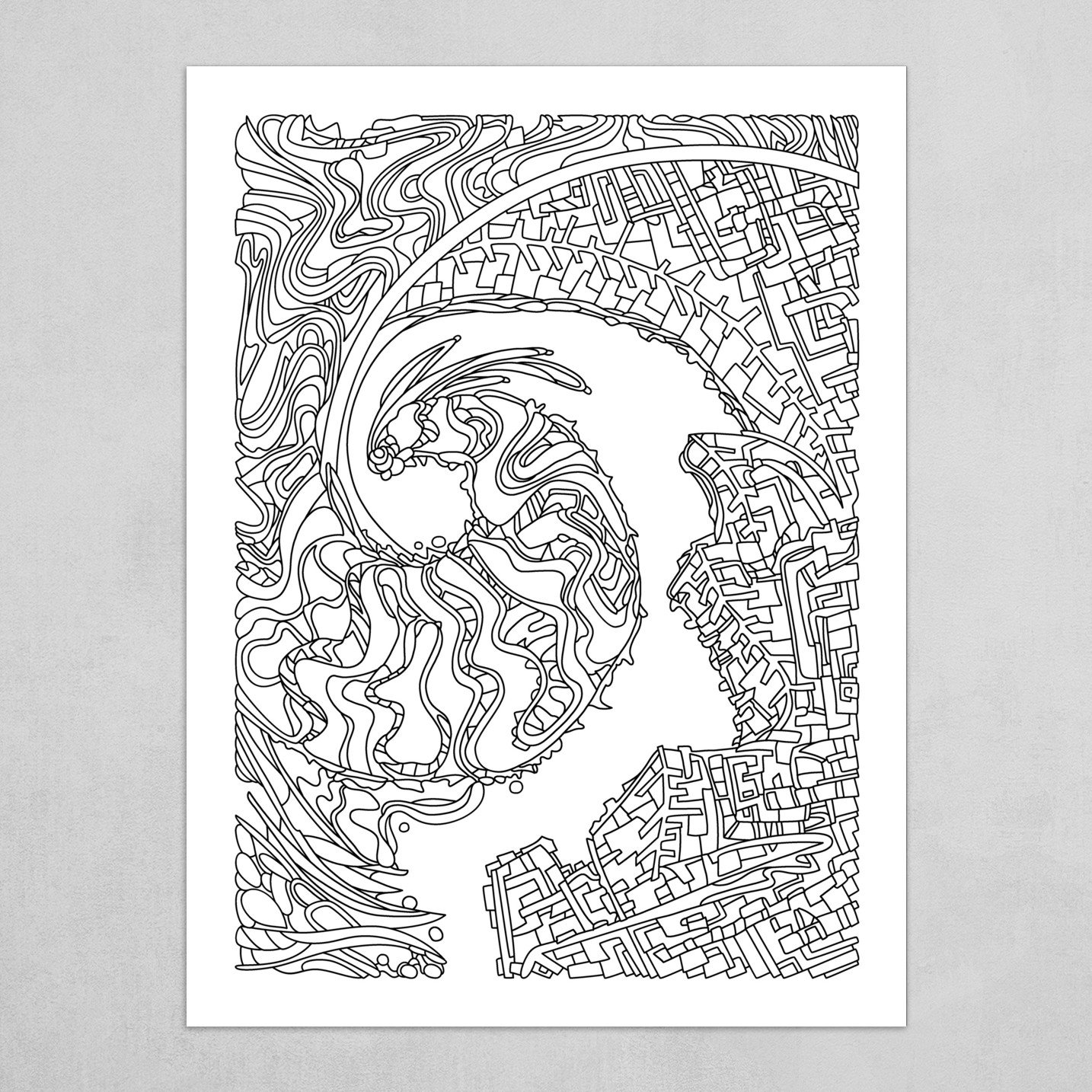 Wandering Abstract Line Art 30: Black & White