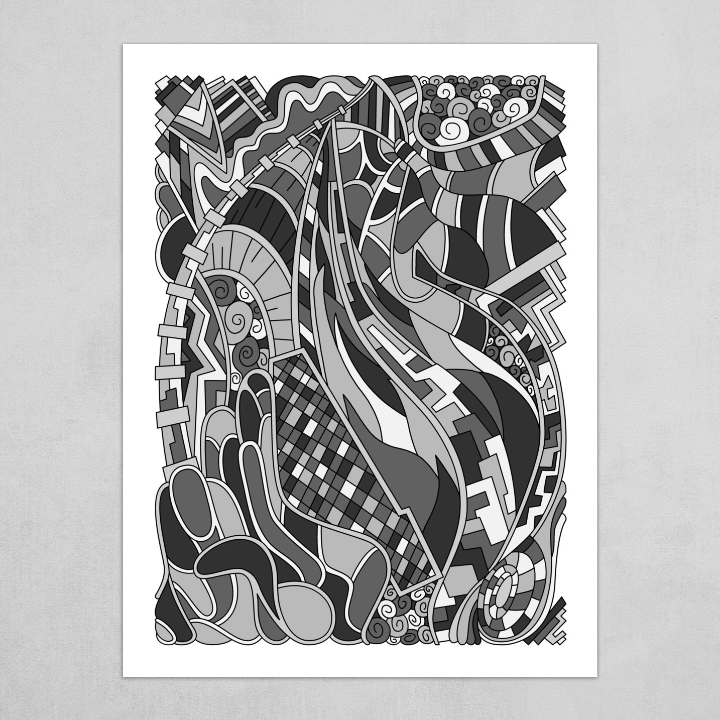 Wandering Abstract Line Art 31: Grayscale